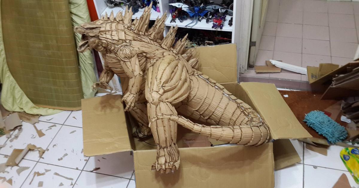Cardboard Godzilla Defeats Superhero Cats Iron Man